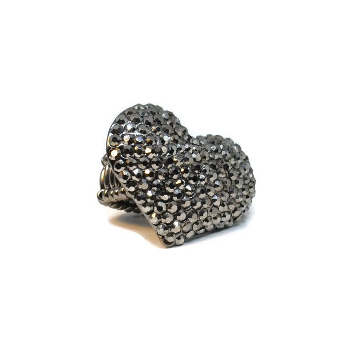 Large Silver Heart Stretch Ring