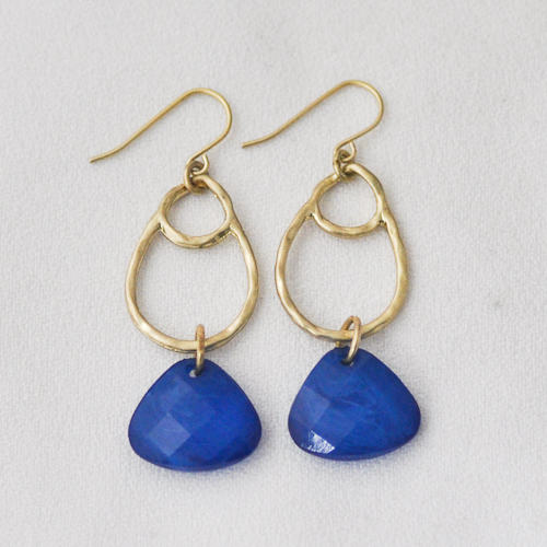 Blue and Gold Double Loop Earrings